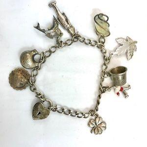 Jewelry - Estate Vintage Charm Bracelet 1930s Sterling